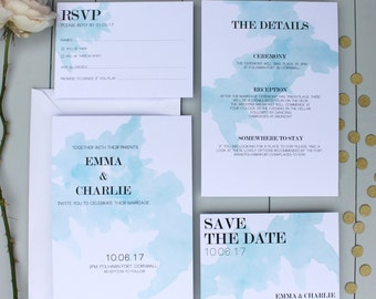 Blue Wedding Invitation, Watercolour Wedding Invite, Paint Effect Wedding Invitation Suite