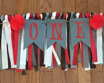 Sock Monkey Birthday Party - Birthday High Chair Banner - Birthday Rag Banner - Photo Backdrop, 1st Birthday Party