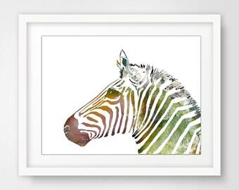 Print zebra face painting of zebra PRINT art zebra art print for him Africa Home Decor african wall hanging decor Watercolor painting