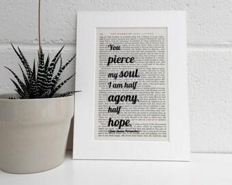 Antique Jane Austen Book Print - Literary Art Print - Persuasion Book Print - Marriage Proposal Gift - Wedding Gift, Valentine Gift