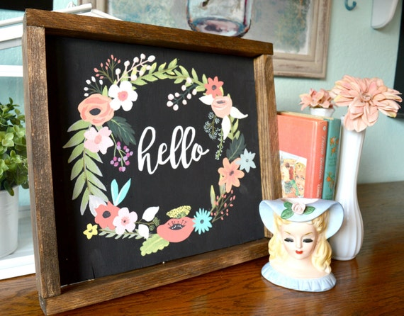 Hand Painted Wood Sign Floral Wreath Sign Rustic Wood Wall