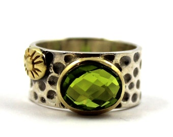 Antique vintage style genuine green peridot 2.85ct 925 sterling silver ring