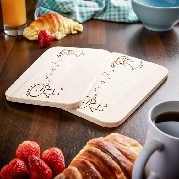 Romantic Cutting Board - Set of 2 -  Couple - With Engraving