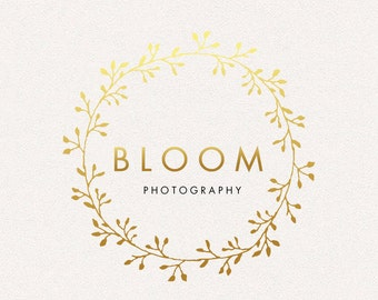 Wreath Logo | Bloom | Logo Design, Graphic Design, Custom Logo, Photography Logo, Logo for Small Business, Boutique Logo