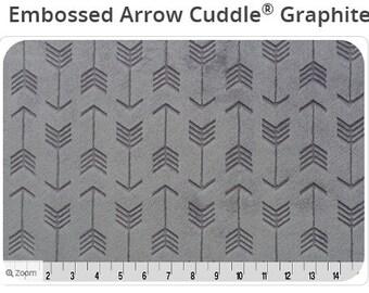 Gray Arrow Embossed Minky - Arrow Minky Fabric - Archer Arrow Minky - Minky with Arrows - Graphite Arrows - Ships out in 1-2 Days