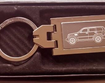Dodge Nitro Engraved Keyring, Chrome with Engraved Stainless Steel Insert,