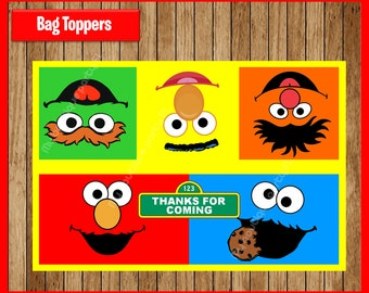 Sesame Street Toppers instant download, Printable Sesame Street Bags toppers, Sesame Street Treat bags toppers