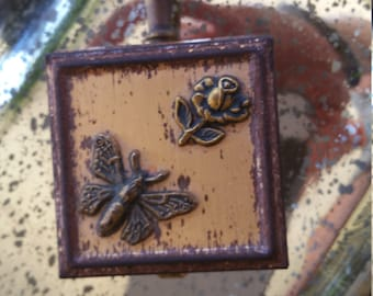 Vintage Personal Ashtray Smoking Accessory Collectible Antique Vanity Piece Handy Butterfly Motif Flower Gift Retro Conversation Piece