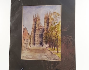 """Pair of vintage matted art prints Colin Williamson, """"The Shambles York"""" and """"York Mister - The West Front"""""""