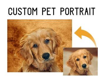 Custom Pet Portrait - Digital Oil Painting / Printable Dog Art / Pet Gift, Dog Gift, Dog Home Decor, Custom Dog Painting, Pet Memorial
