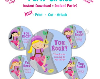 Printable Rock Climbing Party Favor Tags -- Instant Download -  Printable Rock Climbing Favor Tags