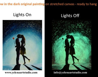 The kiss - 28 x 36 cm Original Glow in the dark painting on stretched canvas - ready to hang