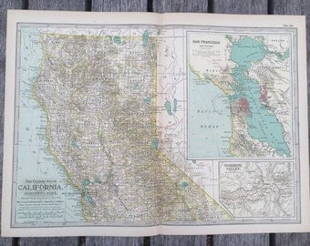 Vintage world map journal etsy antique american 1897 map from new century atlas 16x11 northern california san francisco vintage gumiabroncs Gallery