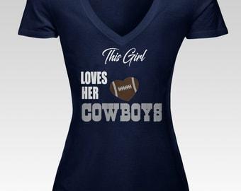 Loves Her Cowboys Women's V Neck Tee