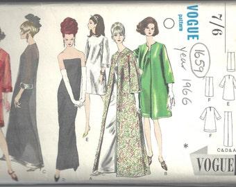 "1966 Vintage VOGUE Sewing Pattern B38"" EVENING Dress & Coat (1659)  Vogue 6908"