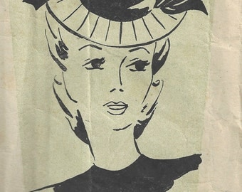 "1940s WW2 Vintage Sewing Pattern HAT SIZE: 21"" - 22"" one size (E1565) Weldons 154162"