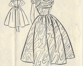 "1950s Vintage Sewing Pattern B32"" DRESS (R455)  Bestway E.2,672"
