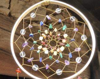 Dreamcatcher CHAKRA, Rock Crystals, Amethyst, Spiritual Gift , Chakra Healing, Boho Gifts, Bedroom Decor, Chakra Steine