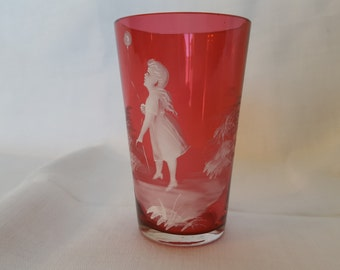 Antique Victorian Mary Gregory Cranberry Glass Tumbler/Jigger/Votive Holder