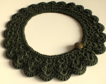 Vintage Style Collar, Crochet Collar, Green Collar, Neck Accessory, Women Accessory, Girl's Accessory, Lace Collar, Fashion Accessory