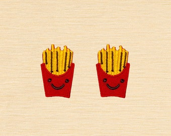Set of 2 pcs Mini Frenchfries French Fries Fast Food Iron On Patches Sew On Appliques
