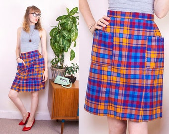 SALE, Vintage Tartan Skirt, Alternative, 70s Skirt, Colourful Skirt, High waisted, Pocket Skirt, Wool Mix, Plaid, Warm Skirt, UK, 8, 4, 34
