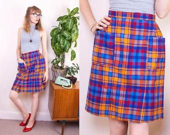 Vintage Tartan Skirt, 70s Skirt, Colourful Skirt, High waisted, Pocket Skirt, Wool Mix, Plaid, Warm Skirt, Winter Skirt, UK 8, US 4, EU 34