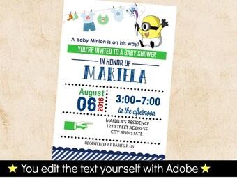 minion invitation minion baby shower invitation printable birthday