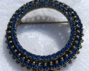 Vintage Brooch ~ Vintage Pin ~ Warner signed blue rhinestone brooch ~ Vintage Jewelry ~ Rhinestones ~ Jewelry