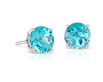 6mm Swiss Blue Topaz Stud Earrings 925 Sterling Silver Earrings Swiss Blue Topaz Faceted Gemstone Beautiful Post Earrings Gift For Her