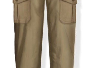 Safari style, women's pants, 4 patterns for 4 different sizes