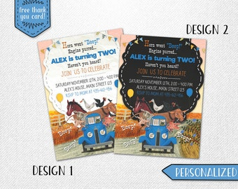 Little Blue Truck birthday invitation, Little Blue Truck invite, Little Blue Truck invitation, Little Blue Truck chalkboard invitation!