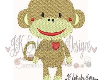 Cute Sock Monkey 2 Machine Embroidery Design, Filled Stitch Embroidery Design, 4x4 embroidery design, Sock Monkey, Machine Embroidery