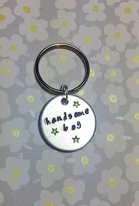 Handmade Aluminium Custom Personalised Dog Tag Handstamped 'handsome boy' with 3 green star gems
