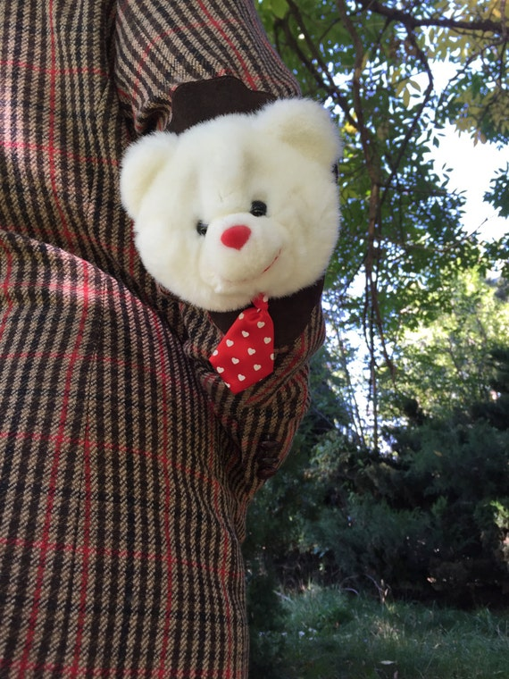 Super cute red & white bear stuffed animal elbow pad jacket!