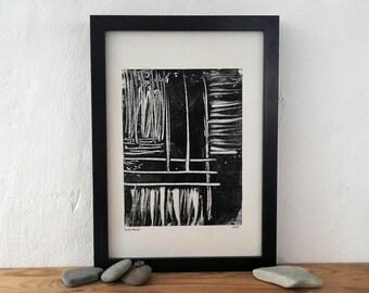 Monoprint, monotype, abstract art, print art, original artwork, handprinted, wall art, black, linoprint, scandi, stripes, small format