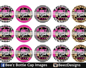 33% off SALE- INSTANT DOWNLOAD- Gold Girly Girl- 1inch Bottlecap Images- 4x6 Digital Collage Sheet