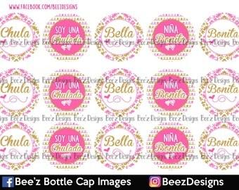33% off SALE- INSTANT DOWNLOAD- Niña Bonita Pink/Gold- 1inch Bottlecap Images- 4x6 Digital Collage Sheet
