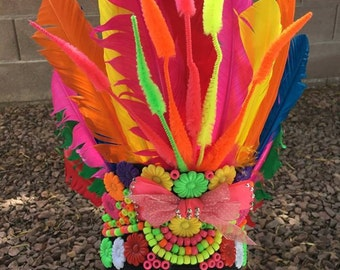 Rave Headdress Festival Hat Kandi EDC Feathers Men's Women's Unisex