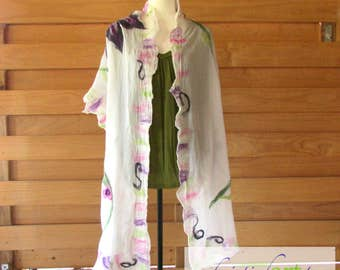Garden Felted Silk Wrap / Handmade / Pink / Purple / White / Green / Merino Wool / Women's Gift Idea / Shawl