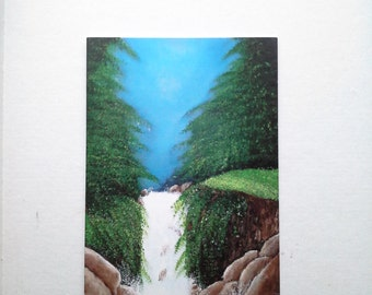 greeting card :waterfall on the rocks