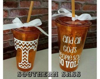 "Tennessee Vols Tumbler-""And all GODS people said GO VOLS"""