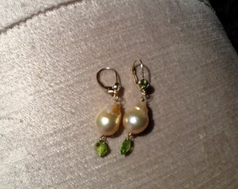 Freshwater fireball pearl and peridot earrings