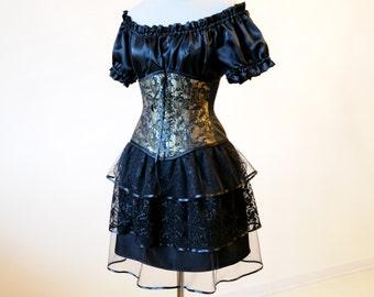 50% OFF Dark fairy costume Black gothic dress Witch Cosplay steampunk costume halloween bustle Pirate corset waist cincher masquerade lolita