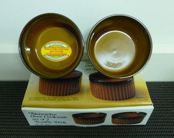 Vintage Rustic Stoneware Oven Cookware set 2 Souffle Dish (.3 ltr) Made in Japan