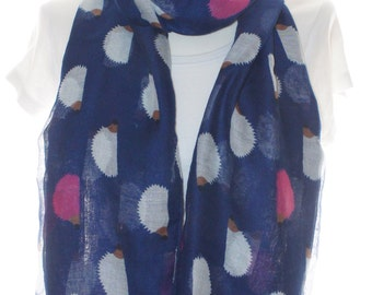 Navy hedgehog print scarf, Beach Wrap, Cowl Scarf, Hedgehog print scarf, cotton scarf, gifts for her