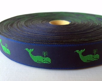 "7/8"" (23mm) Whales  jacquard ribbon"