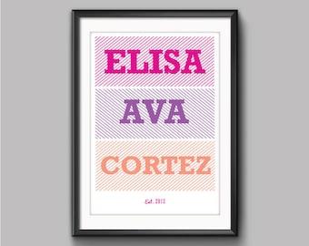 Personalized Baby Name Print, Child Name Print, Nursery Decor, Child Art, Kids Bedroom, Girls Name