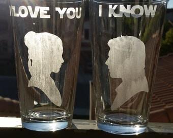 Star Wars Inspired Beer Pint Glass Set Han & Leia I Love You I Know Set