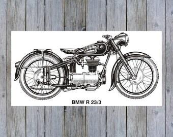 Vintage BMW R23/3 Motorcycle art poster print